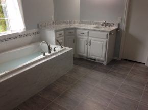 Example of beautiful bathroom remodel completed by Weber Home Improvement.