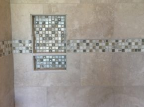 Bathroom Tile Design Created by Weber Home Improvement.